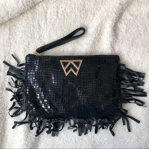 Handbags - Black Fringe Wristlet